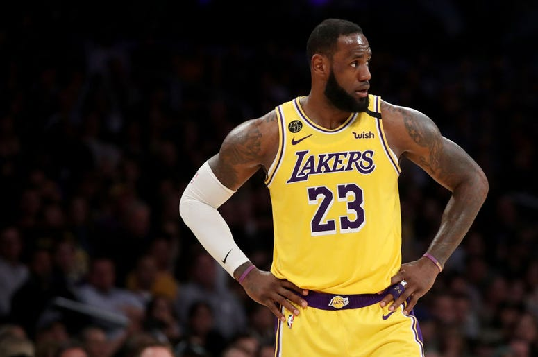 LOS ANGELES, CALIFORNIA - FEBRUARY 21: LeBron James #23 of the Los Angeles Lakers looks on during the fourth quarter in a game against the Memphis Grizzlies at Staples Center on February 21, 2020 in Los Angeles, California. The Lakers won 117-105. NOTE TO