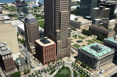 Cleveland Public Square from above at Tower City Center
