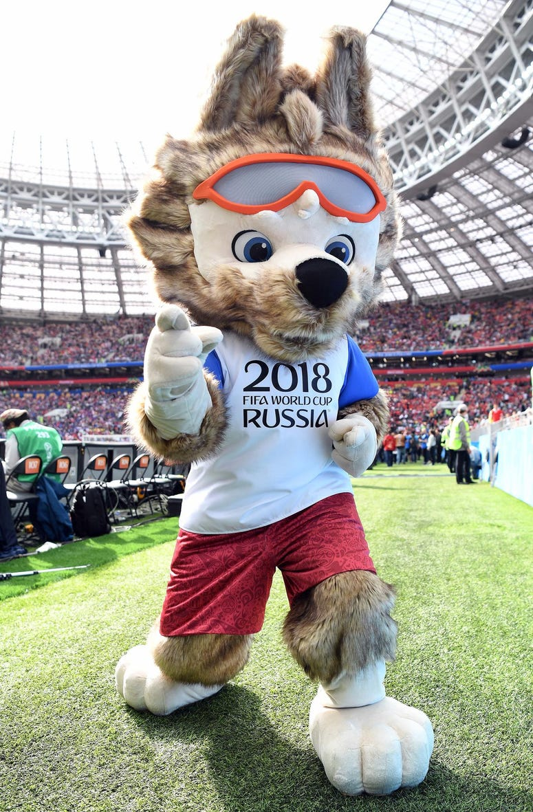 World Cup mascot performs before Group A play during the FIFA World Cup 2018 between Russia and Saudi Arabia at Luzhniki Stadium.