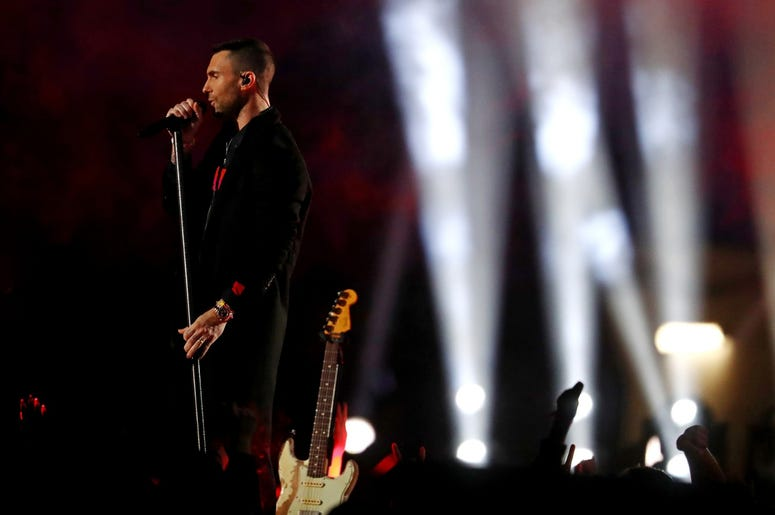 Feb 3, 2019; Atlanta, GA, USA; Maroon 5 lead singer Adam Levine performs during the half show in Super Bowl LIII between the New England Patriots and the Los Angeles Rams at Mercedes-Benz Stadium. Mandatory Credit: Matthew Emmons-USA TODAY Sports