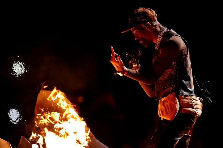 Feb 3, 2019; Atlanta, GA, USA; Recording artist Travis Scott preforms during the halftime show in Super Bowl LIII at Mercedes-Benz Stadium. Mandatory Credit: Matthew Emmons-USA TODAY Sports