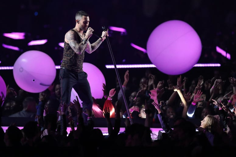 Feb 3, 2019; Atlanta, GA, USA; Maroon 5 lead singer Adam Levine performs during halftime of Super Bowl LIII between the New England Patriots and the Los Angeles Rams at Mercedes-Benz Stadium. Mandatory Credit: Jason Getz-USA TODAY Sports