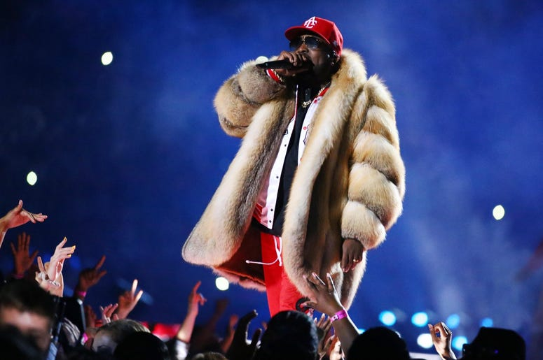 Feb 3, 2019; Atlanta, GA, USA; Recording artist Big Boi performs at halftime in Super Bowl LIII between the New England Patriots and the Los Angeles Rams at Mercedes-Benz Stadium. Mandatory Credit: Mark J. Rebilas-USA TODAY Sports