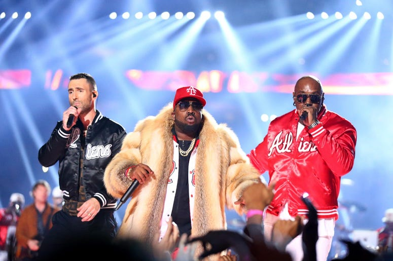 Feb 3, 2019; Atlanta, GA, USA; Recording artist Adam Levine (left) and recording artist Big Boi (middle) perform at halftime in Super Bowl LIII between the New England Patriots and the Los Angeles Rams at Mercedes-Benz Stadium. Mandatory Credit: Mark J. R