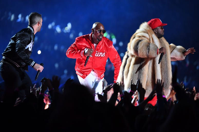 Feb 3, 2019; Atlanta, GA, USA; Recording artist Big Boi performs with Maroon 5 lead singer Adam Levine during the halftime show in Super Bowl LIII at Mercedes-Benz Stadium. Mandatory Credit: Christopher Hanewinckel-USA TODAY Sports