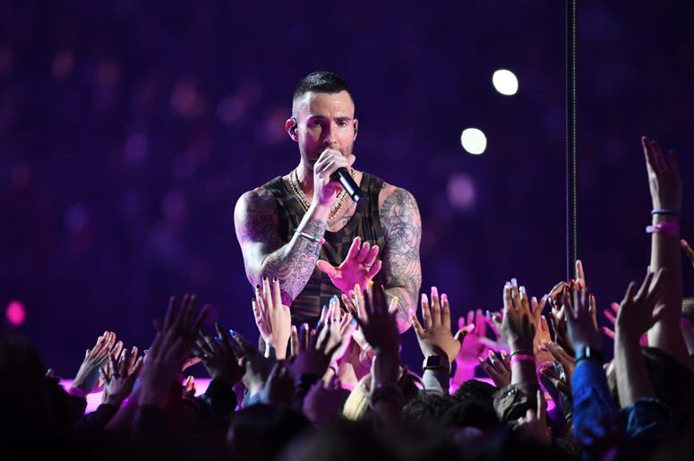 Feb 3, 2019; Atlanta, GA, USA; Maroon 5 lead singer Adam Levine performs during the halftime show in Super Bowl LIII at Mercedes-Benz Stadium. Mandatory Credit: Christopher Hanewinckel-USA TODAY Sports