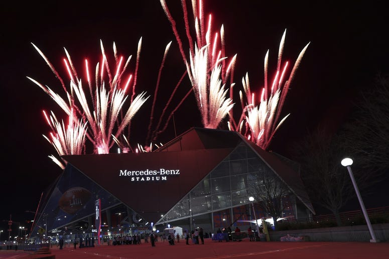 Feb 3, 2019; Atlanta, GA, USA; Fireworks outside the stadium during halftime in Super Bowl LIII at Mercedes-Benz Stadium. Mandatory Credit: Kevin Jairaj-USA TODAY Sports