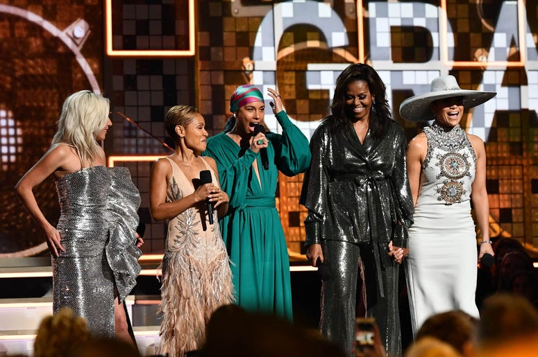 February 10, 2019; Los Angeles, CA, USA; (From Left) Lady Gaga, Jada Pinkett-Smith, Alicia Keys and Michelle Obama and Jennifer Lopez appear during the 61st Annual GRAMMY Awards on Feb. 10, 2019 at STAPLES Center in Los Angeles, Calif. Mandatory Credit: R