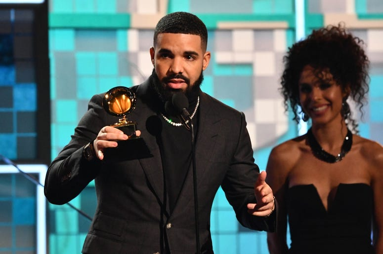 February 10, 2019; Los Angeles, CA, USA; Drake accepts the award for best rap song for 'God's Plan' during the 61st Annual GRAMMY Awards on Feb. 10, 2019 at STAPLES Center in Los Angeles, Calif. Mandatory Credit: Robert Hanashiro-USA TODAY NETWORK