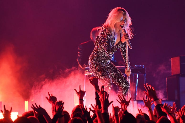 """February 10, 2019; Los Angeles, CA, USA; Lady Gaga performs \""""Shallow\"""" during the 61st Annual GRAMMY Awards on Feb. 10, 2019 at STAPLES Center in Los Angeles, Calif. Mandatory Credit: Robert Hanashiro-USA TODAY NETWORK"""