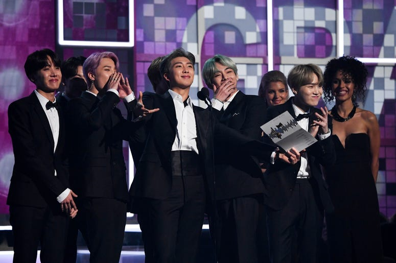 February 10, 2019; Los Angeles, CA, USA; BTS presents the award for best R&B album during the 61st Annual GRAMMY Awards on Feb. 10, 2019 at STAPLES Center in Los Angeles, Calif. Mandatory Credit: Robert Hanashiro-USA TODAY NETWORK