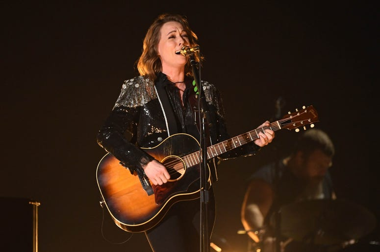 """February 10, 2019; Los Angeles, CA, USA; Brandi Carlile performs \""""The Joke\"""" during the 61st Annual GRAMMY Awards on Feb. 10, 2019 at STAPLES Center in Los Angeles, Calif. Mandatory Credit: Robert Hanashiro-USA TODAY NETWORK"""