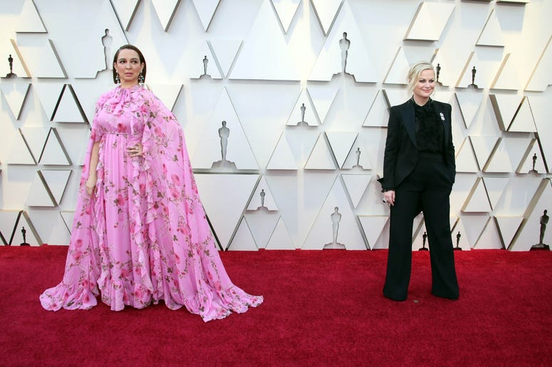 February 24, 2019; Los Angeles, CA, USA; Maya Rudolph, left and Amy Poehler arrive at the 91st Academy Awards at the Dolby Theatre. Mandatory Credit: Dan MacMedan-USA TODAY NETWORK
