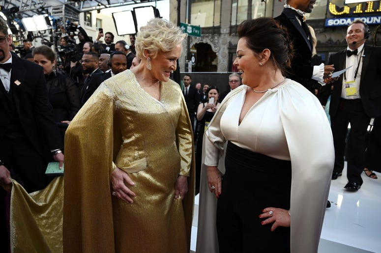 February 24, 2019; Los Angeles, CA, USA; Glenn Close (L) and Melissa McCarthy arrive at the 91st Academy Awards at the Dolby Theatre. Mandatory Credit: Robert Hanashiro-USA TODAY NETWORK