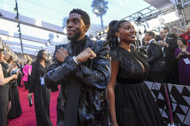 February 24, 2019; Los Angeles, CA, USA; Chadwick Boseman arrives at the 91st Academy Awards at the Dolby Theatre. Mandatory Credit: Robert Hanashiro-USA TODAY NETWORK