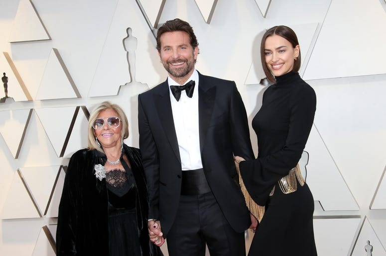 February 24, 2019; Los Angeles, CA, USA; Gloria Campano, from left, Bradley Cooper, and Irina Shayk arrive at the 91st Academy Awards at the Dolby Theatre. Mandatory Credit: Dan MacMedan-USA TODAY NETWORK