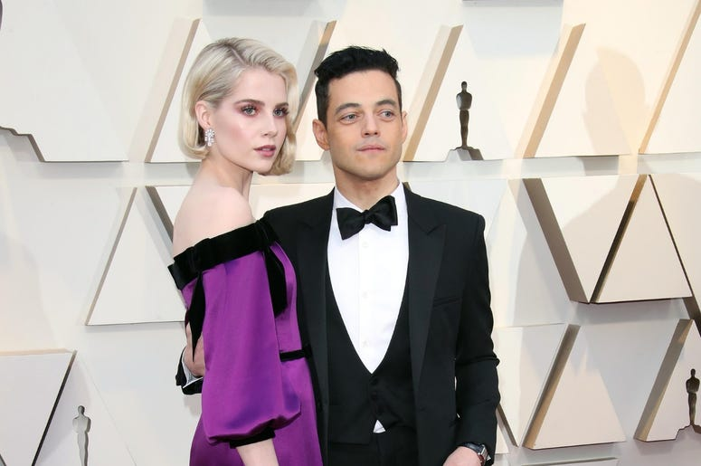February 24, 2019; Los Angeles, CA, USA; Lucy Boynton, left, and Rami Malek arrive at the 91st Academy Awards at the Dolby Theatre. Mandatory Credit: Dan MacMedan-USA TODAY NETWORK