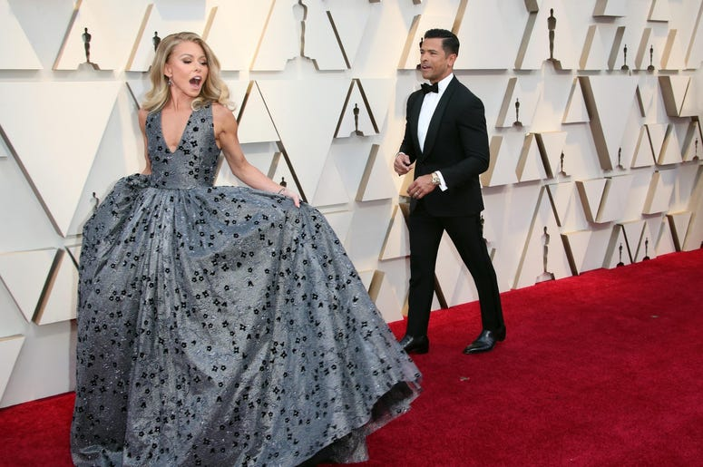 February 24, 2019; Los Angeles, CA, USA; Kelly Ripa, left, and Mark Consuelos arrive at the 91st Academy Awards at the Dolby Theatre. Mandatory Credit: Dan MacMedan-USA TODAY NETWORK