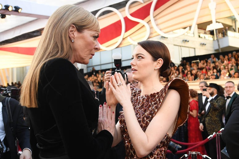 February 24, 2019; Los Angeles, CA, USA; Allison Janney (L) and Emma Stone arrive at the 91st Academy Awards at the Dolby Theatre. Mandatory Credit: Robert Hanashiro-USA TODAY NETWORK
