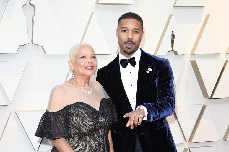 February 24, 2019; Los Angeles, CA, USA; Michael B. Jordan, right, and Donna Jordan arrive at the 91st Academy Awards at the Dolby Theatre. Mandatory Credit: Dan MacMedan-USA TODAY NETWORK