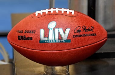 Jan 25, 2020; Miami, Florida, USA; A detail shot of Super Bowl LIV football that is seen during the Grand Opening of the NFL s Super Bowl Experience at the Miami Beach Convention Center. Mandatory Credit: Steve Mitchell-USA TODAY Sports