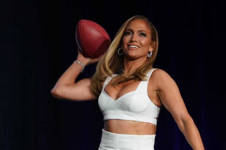 Jan 30, 2020; Miami, Florida, USA; Recording artist Jennifer Lopez during the Super Bowl LIV halftime talent show press conference at Hilton Downtown. Mandatory Credit: Kirby Lee-USA TODAY Sports