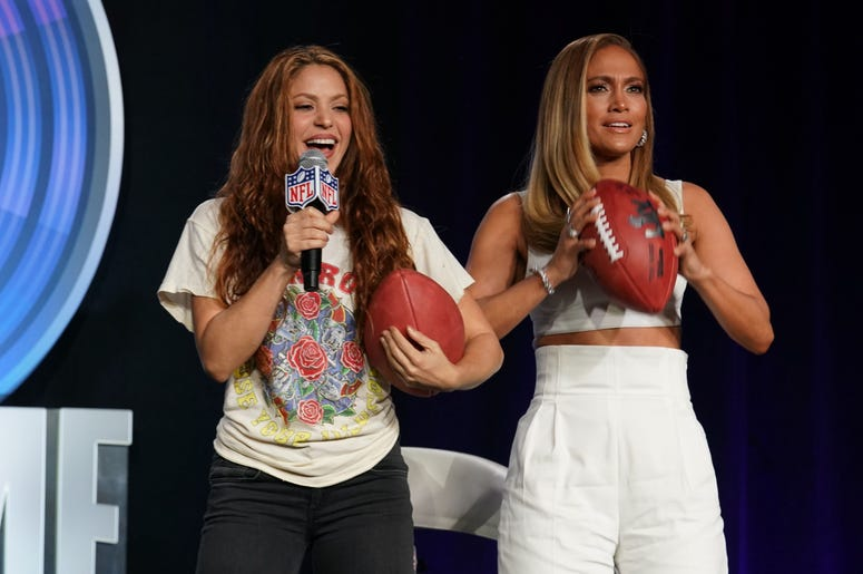Jan 30, 2020; Miami, Florida, USA; Recording aritsts Shakira (left) and Jennifer Lopez (right) during the Super Bowl LIV halftime talent show press conference at the Hilton Downtown Miami. Mandatory Credit: Steve Mitchell-USA TODAY Sports