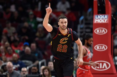 Mar 10, 2020; Chicago, Illinois, USA; Cleveland Cavaliers forward Larry Nance Jr. (22) reacts after scoring against the Chicago Bulls at United Center. Mandatory Credit: Quinn Harris-USA TODAY Sports