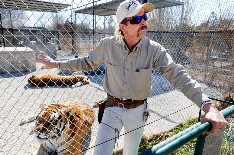 Feb 28, 2013; Wynnewood, OK, USA; Joe Schreibvogel (Joe Exotic) talks about a lawsuit at GW Exotic Animal Park on Thursday, Feb. 28, 2013 in Wynnewood, Okla. Mandatory Credit: Steve Sisney/The Oklahoman via the USA TODAY Network