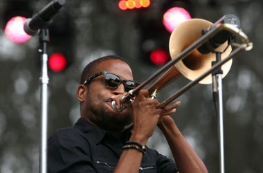 Trombone Shorty performs on the Sutro stage during the Outside Lands Music and Arts Festival at Golden Gate Park in San Francisco California, on Sunday, August 11, 2013. (Photo by Jane Tyska/Bay Area News Group/MCT/Sipa USA)