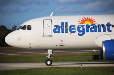 An Allegient airlines Airbus A320-214 taxies at the Orlando Sanford airport on the way to the runway, on Wednesday, Feb. 21, 2018. (Photo by Ricardo Ramirez Buxeda/Orlando Sentinel/TNS/Sipa USA)