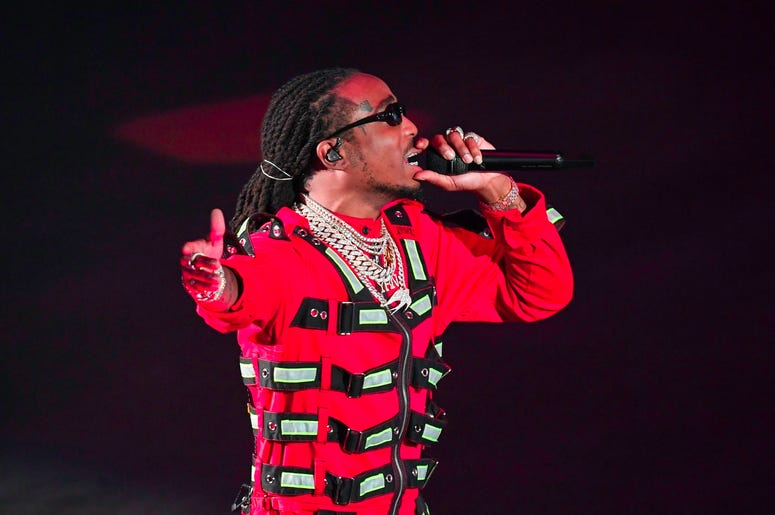 MIAMI, FL - NOVEMBER 13: Quavo of Migos performs at the AmericanAirlines Arena in Miami, Florida on November 13, 2018. (Photo by Ron Elkman/USA TODAY NETWORK/Sipa USA)