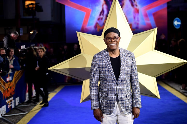 2/27/2019 - Samuel L. Jackson attending the Captain Marvel European Premiere held at the Curzon Mayfair, London. Picture date: Wednesday February 27, 2019. Photo credit should read: Ian West/PA Wire (Photo by PA Images/Sipa USA) *** US Rights Only ***