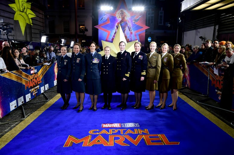 2/27/2019 - Members of the Royal Air Force attending the Captain Marvel European Premiere held at the Curzon Mayfair, London. Picture date: Wednesday February 27, 2019. Photo credit should read: Ian West/PA Wire (Photo by PA Images/Sipa USA) *** US Rights