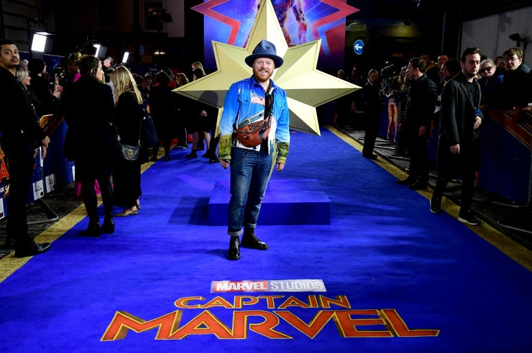 2/27/2019 - Leigh Francis attending the Captain Marvel European Premiere held at the Curzon Mayfair, London. Picture date: Wednesday February 27, 2019. Photo credit should read: Ian West/PA Wire (Photo by PA Images/Sipa USA) *** US Rights Only ***