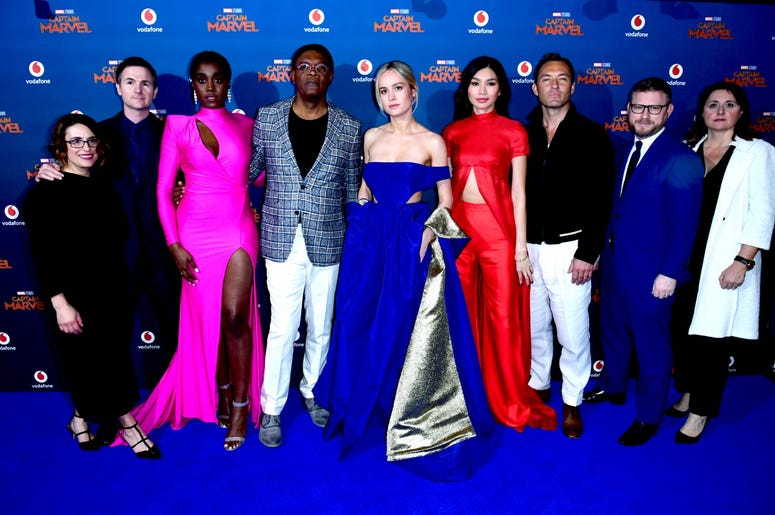 2/27/2019 - (left to right) Anna Boden, Ryan Fleck, Lashana Lynch, Samuel L. Jackson, Brie Larson, Gemma Chan, Jude Law, Jonathan Schwartz and Victoria Alonso attending the Captain Marvel European Premiere held at the Curzon Mayfair, London. Picture date: