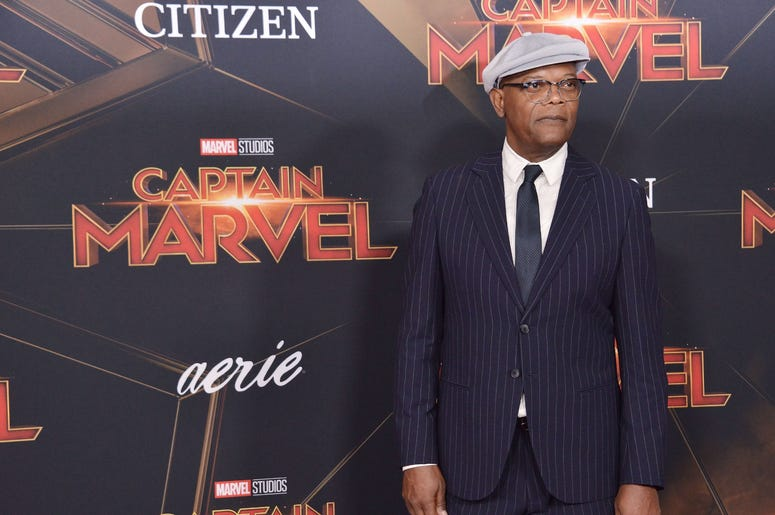 """Samuel L. Jackson arrives at the Marvel Studios """"Captain Marvel"""" Los Angeles Premiere held at the El Capitan Theatre in Hollywood, CA on Monday, March 4, 2019. (Photo By Sthanlee B. Mirador/Sipa USA)"""