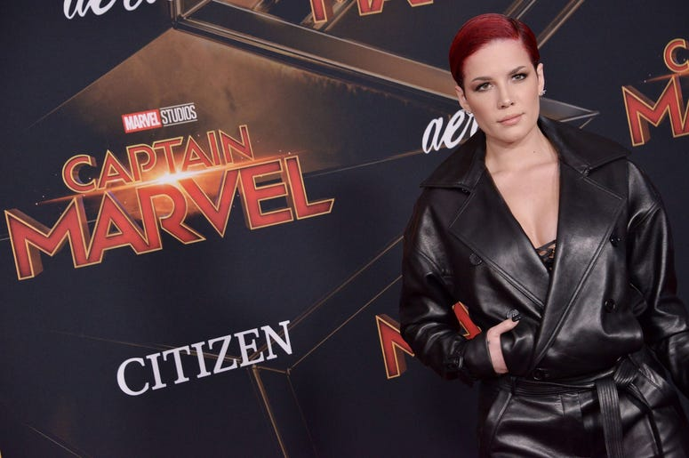 """Halsey arrives at the Marvel Studios """"Captain Marvel"""" Los Angeles Premiere held at the El Capitan Theatre in Hollywood, CA on Monday, March 4, 2019. (Photo By Sthanlee B. Mirador/Sipa USA)"""