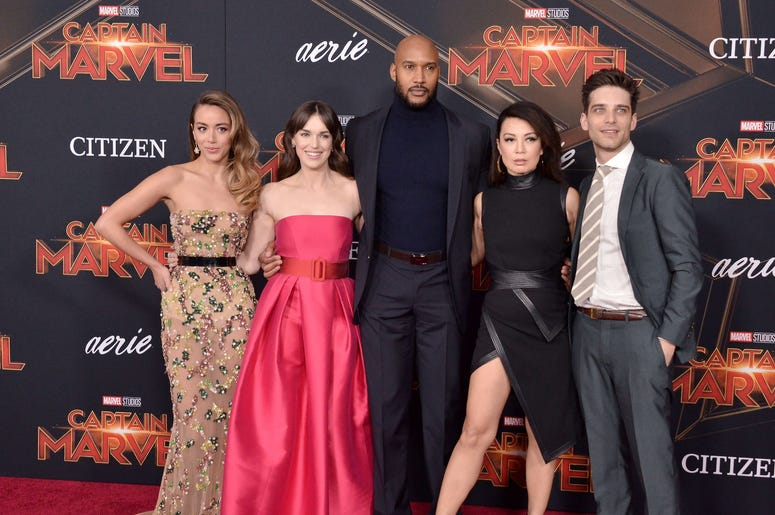 """(L-R) """"Agents of S.H.I.E.L.D."""" Cast - Chloe Bennet, Elizabeth Henstridge, Henry Simmons, Ming-Na Wen and Jeff Ward at the Marvel Studios """"Captain Marvel"""" Los Angeles Premiere held at the El Capitan Theatre in Hollywood, CA on Monday, March 4, 2019. (Photo"""