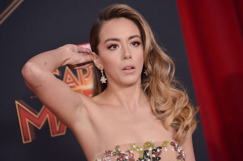 """Chloe Bennet arrives at the Marvel Studios """"Captain Marvel"""" Los Angeles Premiere held at the El Capitan Theatre in Hollywood, CA on Monday, March 4, 2019. (Photo By Sthanlee B. Mirador/Sipa USA)"""
