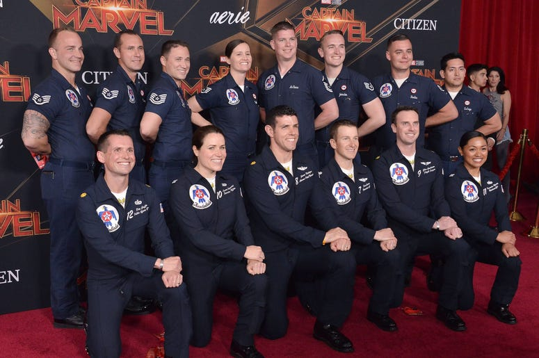"""The Thunderbirds arrives at the Marvel Studios """"Captain Marvel"""" Los Angeles Premiere held at the El Capitan Theatre in Hollywood, CA on Monday, March 4, 2019. (Photo By Sthanlee B. Mirador/Sipa USA)"""