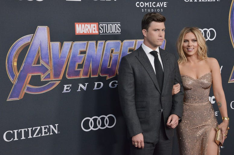"(L-R) Colin Jost and Scarlett Johansson at Marvel Studios' ""Avengers: Endgame"" World Premiere held at the Los Angeles Convention Center in Los Angeles, CA on Monday, April 22, 2019. (Photo By Sthanlee B. Mirador/Sipa USA)"