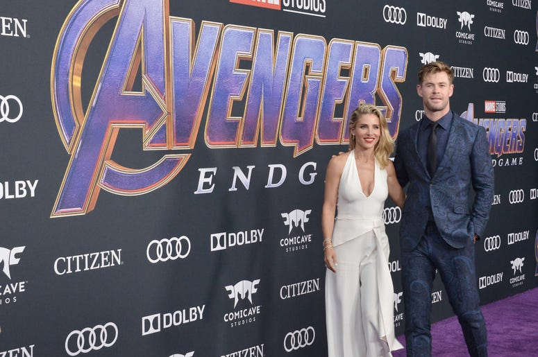 "(L-R) Elsa Pataky and Chris Hemsworth at Marvel Studios' ""Avengers: Endgame"" World Premiere held at the Los Angeles Convention Center in Los Angeles, CA on Monday, April 22, 2019. (Photo By Sthanlee B. Mirador/Sipa USA)"