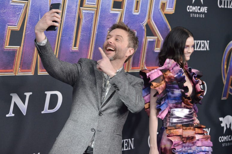 "(L-R) Chris Hardwick and Lydia Hearst-Shaw at Marvel Studios' ""Avengers: Endgame"" World Premiere held at the Los Angeles Convention Center in Los Angeles, CA on Monday, April 22, 2019. (Photo By Sthanlee B. Mirador/Sipa USA)"