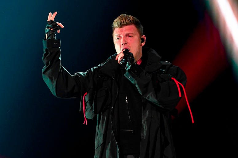 SUNRISE, FL- AUGUST 24: Nick Carter performs at the Backstreet Boys DNA World Tour at BB&T Center in Sunrise, Florida on 8/24/2019. (Photo by Ron Elkman/USA TODAY NETWORK/Sipa USA)