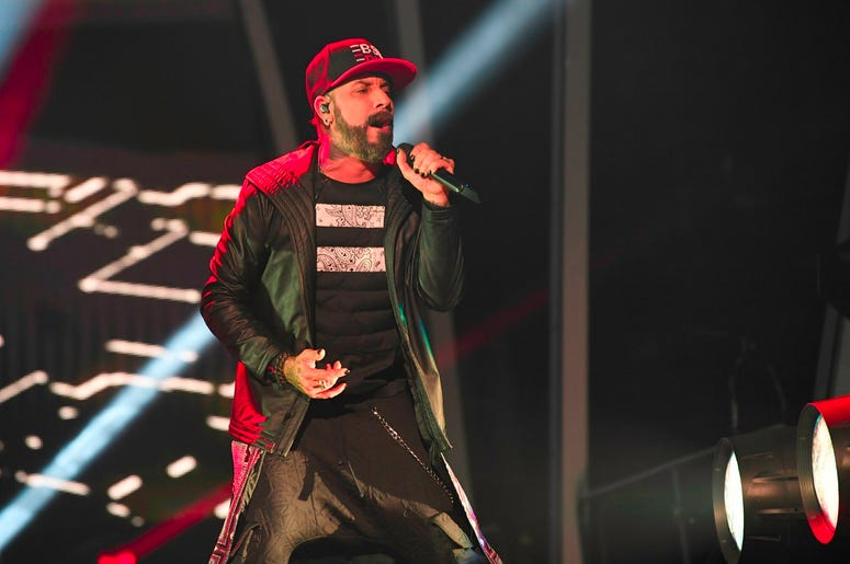 SUNRISE, FL- AUGUST 24: A.J. McLean performs at the Backstreet Boys DNA World Tour at BB&T Center in Sunrise, Florida on 8/24/2019. (Photo by Ron Elkman/USA TODAY NETWORK/Sipa USA)