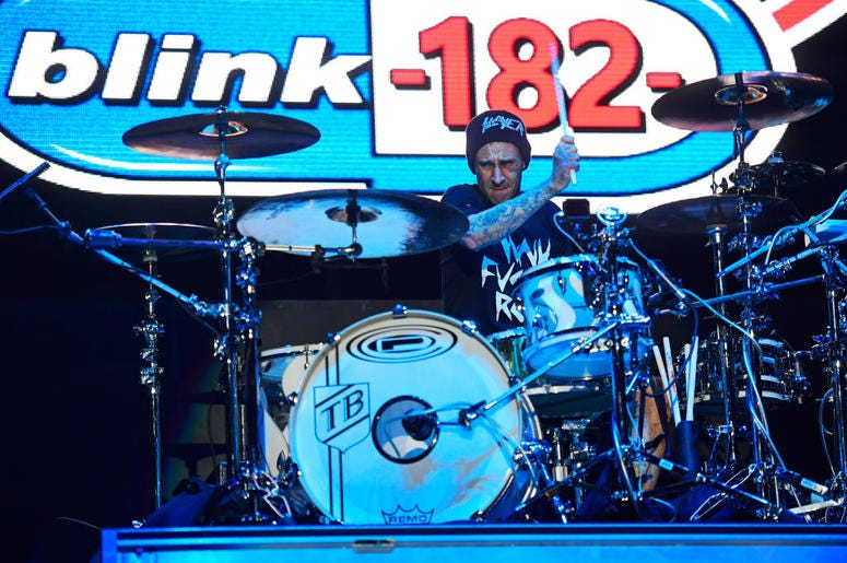 ATLANTIC CITY, NJ - JUNE 30: Travis Barker of Blink-182 performs during the second and final day of Warped Tour on June 30, 2019 in Atlantic City, New Jersey. (Photo by Corey Perrine/Getty Images)