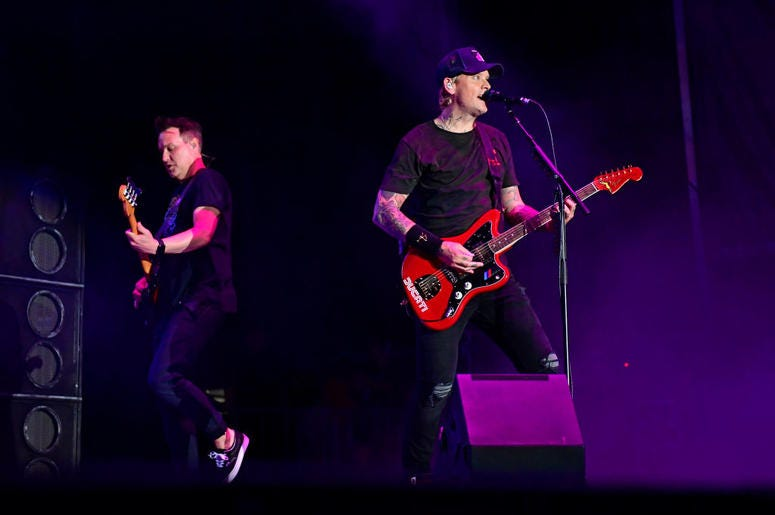 ATLANTIC CITY, NJ - JUNE 30: Matt Skiba (R) and Mark Hoppus of Blink-182 performs during the second and final day of Warped Tour on June 30, 2019 in Atlantic City, New Jersey. (Photo by Corey Perrine/Getty Images)