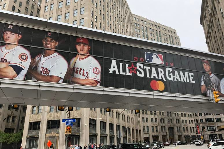 A photo of 2019 MLB all-star game signage in downtown Cleveland at the JACK Casino
