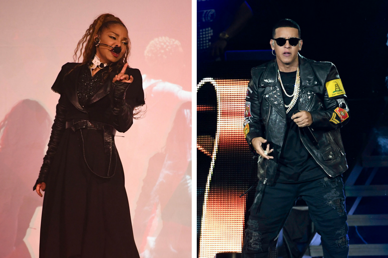 Dec 11, 2017; Sunrise, FL, USA; Recording artist Janet Jackson performs at the BB&T Center. / Aug 6, 2016; Miami, FL, USA; Daddy Yankee performs at American Airlines Arena.